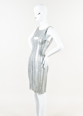Herve Leger Metallic Silver Coated Woven Bandage Dress Side