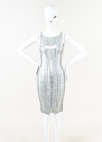 Herve Leger Metallic Silver Coated Woven Bandage Dress Front