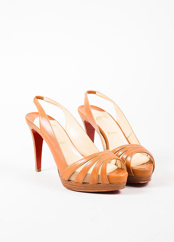 Christian Louboutin Tan Leather Mesh Peep Toe Slingback Platform Heels  Frontview