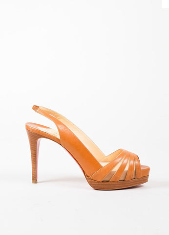 Christian Louboutin Tan Leather Mesh Peep Toe Slingback Platform Heels Sideview