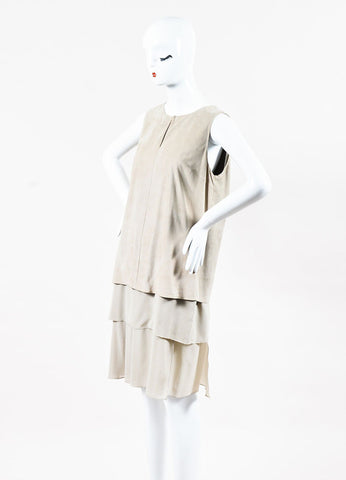 Brunello Cucinelli Beige Suede Silk Sleeveless Layered Shift Dress Side