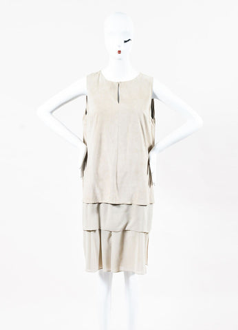 Brunello Cucinelli Beige Suede Silk Sleeveless Layered Shift Dress Front