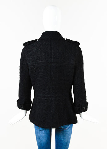 Chanel Black Boucle Wool Gunmetal Tone 'CC' Button Utilitarian Jacket Back