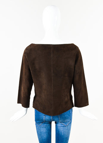 Hermes Brown Suede Leather Paneled Perforated Lace Up Long Sleeve Top Back
