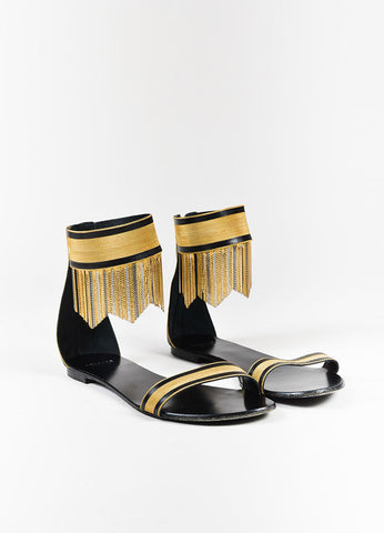 Versace Black and Gold Fringe Ankle Strap Flat Sandals Frontview