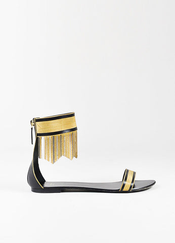 Versace Black and Gold Fringe Ankle Strap Flat Sandals Sideview