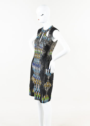 Peter Pilotto Black Cotton Multicolor Embellished Sleeveless Dress Side