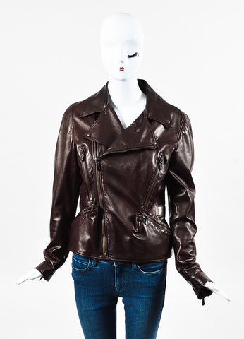 Alexander McQueen Burgundy Leather Multi Pocket Motorcycle Jacket Front