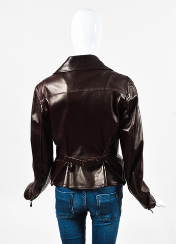 Alexander McQueen Burgundy Leather Multi Pocket Motorcycle Jacket Back