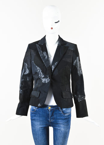 Alexander McQueen Black Silk Metallic Patchwork Long Sleeve Blazer Front