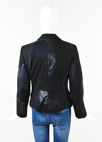 Alexander McQueen Black Silk Metallic Patchwork Long Sleeve Blazer Back