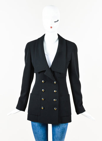 Chanel Boutique Black Long Double Breasted Blazer Jacket Front