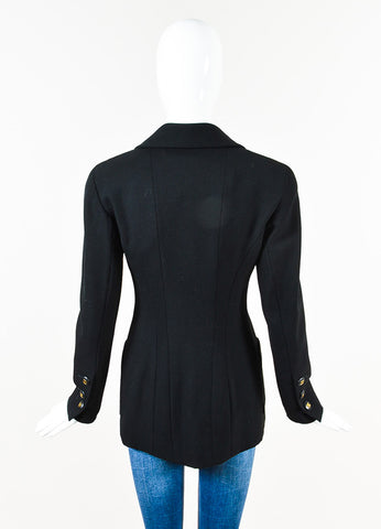 Chanel Boutique Black Long Double Breasted Blazer Jacket Back