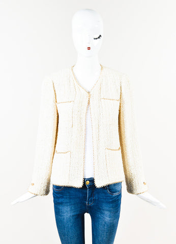 Chanel Cream Tweed Mother of Pearl Beaded Trim Jacket Front