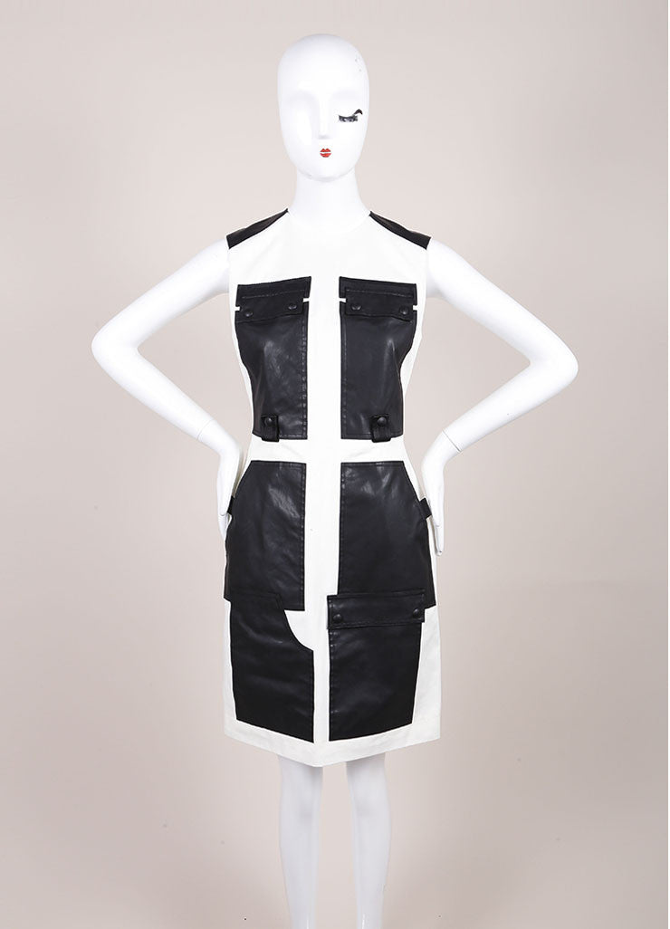 Alexander Wang New With Tags Cream and Black Webbing Detail Coated Cargo Dress Frontview