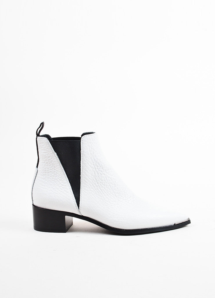 "Acne Studios White Grained Leather ""Jensen"" Chelsea Ankle Booties Sideview"