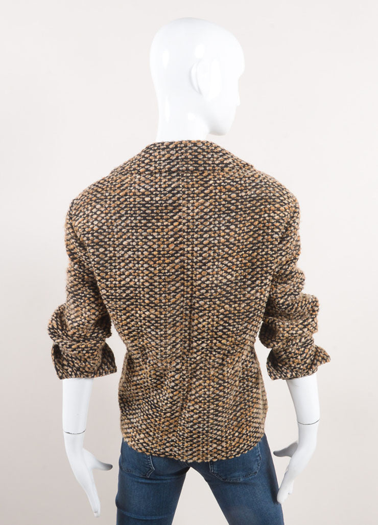 Akris Punto New With Tags Brown and Black Wool Blend Tweed Crop Sleeve Jacket Backview