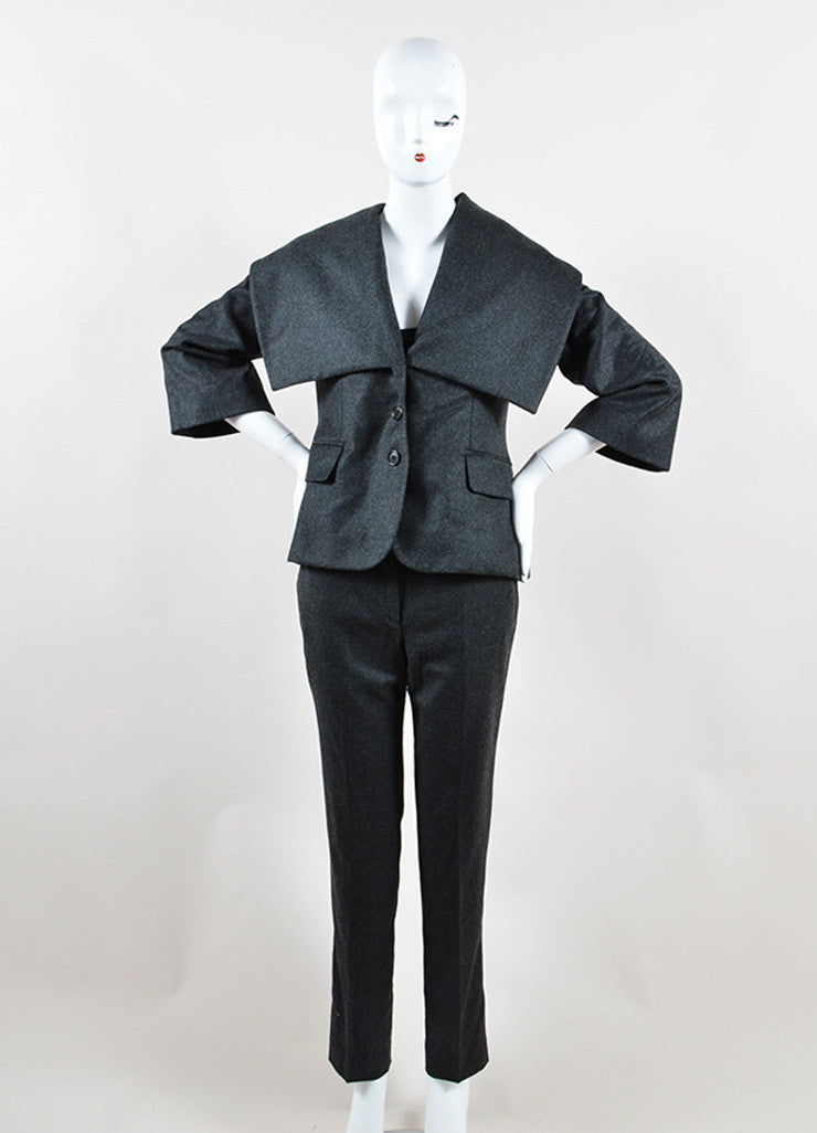Alexander McQueen Grey Wool and Cashmere Oversized Collar Jacket Pant Suit Frontview