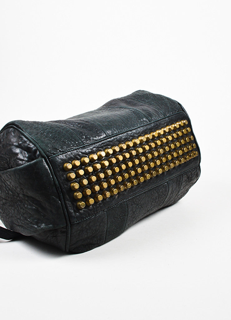 "Alexander Wang Black Pebbled Leather ""Rocco"" Duffel Bag Bottom View"