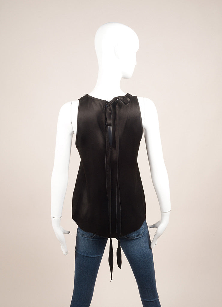 Andrew Gn Black and Bronze Metallic Leather and Bead Trim Sleeveless Top Backview