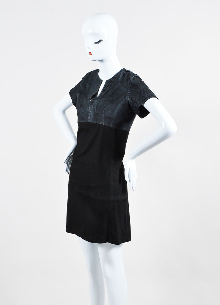 Black Balenciaga Leather and Suede Short Sleeve V-Neck Dress Sideview
