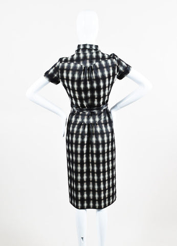 Grey, White and Black Burberry Plaid Belted Short Sleeve Shirt Dress Back