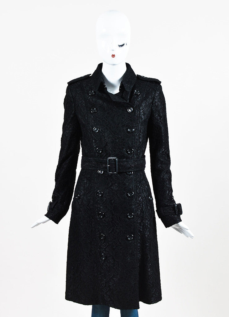 Burberry London Black Floral Lace Double Breasted and Belted Trench Coat Frontview