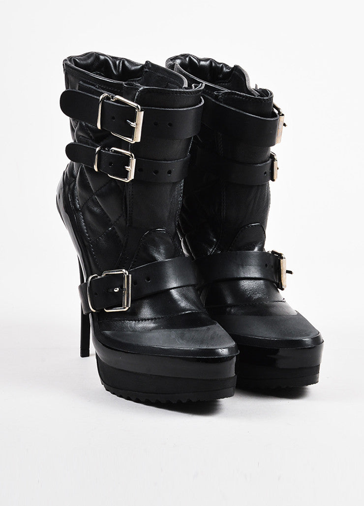 Burberry Black Leather Quilted and Buckled Platform Stiletto Boots Frontview