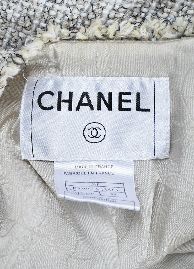 White and Black Chanel Cotton and Linen Tweed Shamrock Buttons Cropped Jacket Brand