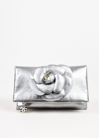 Chanel Silver Leather Camellia Flower Embellishment Foldover Zip Clutch Bag Frontview