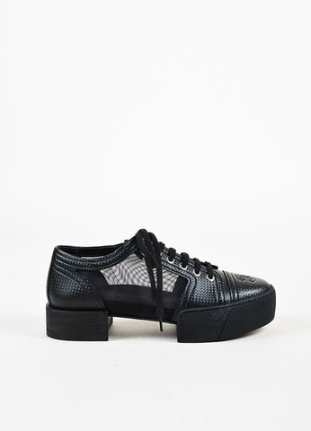 Chanel Black, White, and Silver Toned Leather and Mesh Platform Sneakers Sideview