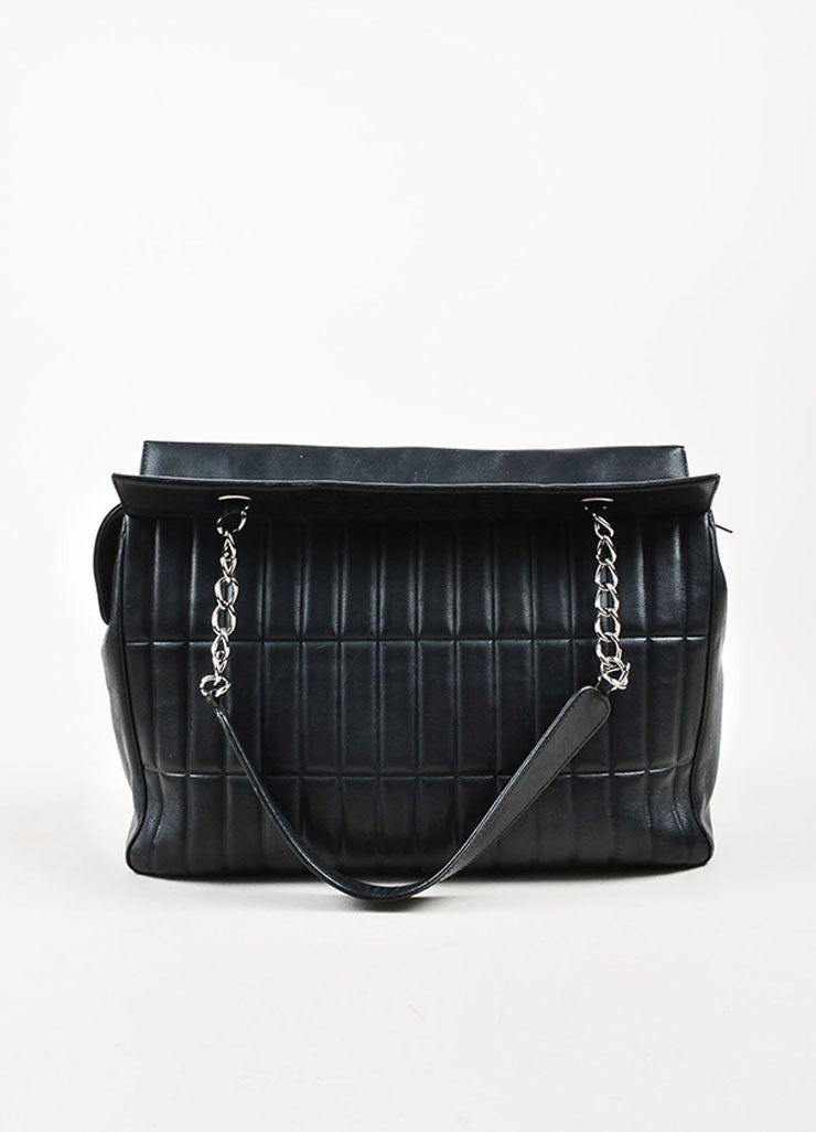 Chanel Black Leather Vertical Quadro Quilted Silver Toned Chain Shoulder Bag Frontview