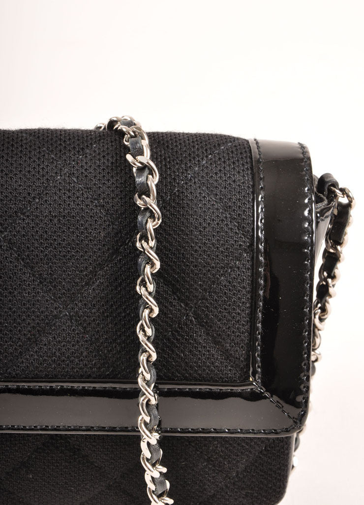 Chanel Black Quilted Knit and Patent Leather Trim Chain Strap East-West Bag Detail 2