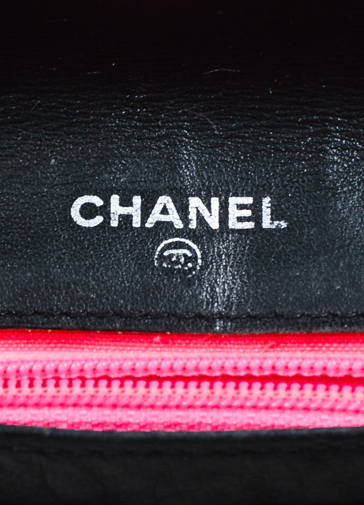 "Chanel Black and White Quilted Leather 'CC' Logo ""Ligne Cambon"" Wallet Brand"