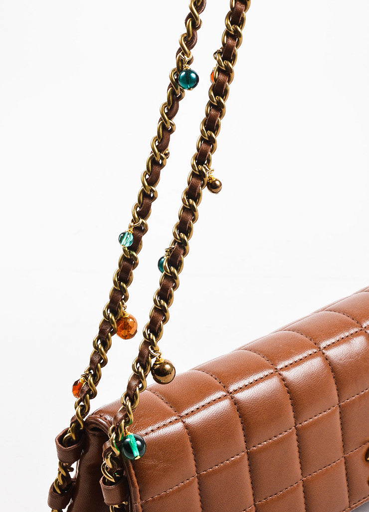 "Chanel Brown Quilted Leather ""East West Chocolate Bar"" Beaded Chain Strap Bag Detail 2"