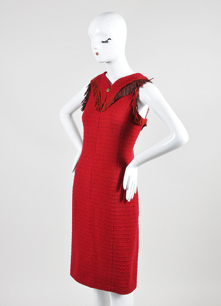 Red Chanel Tweed Leather Fringe Sleeveless Shift Dress Sideview