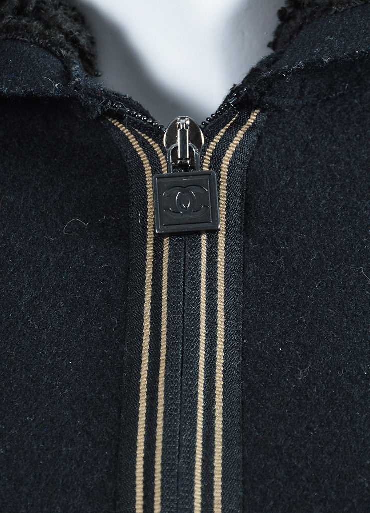 Black Chanel Wool and Faux Shearling Hooded Varsity Jacket Detail