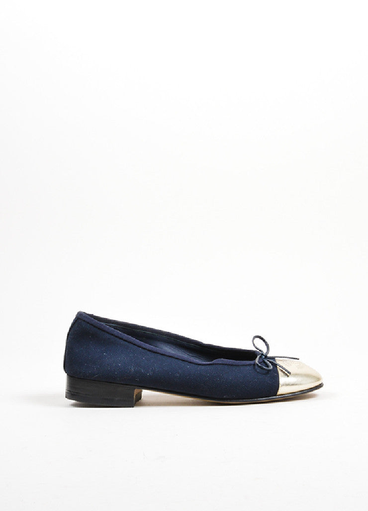 Navy Blue and Silver Chanel Canvas Metallic Leather Cap Toe Ballerina Flats Sideview