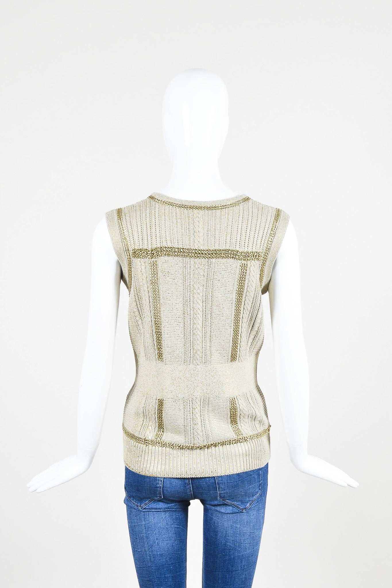 Chanel Taupe Metallic Gold Chain Trim 'CC' Shield Button Sleeveless Cardigan Vest Backview