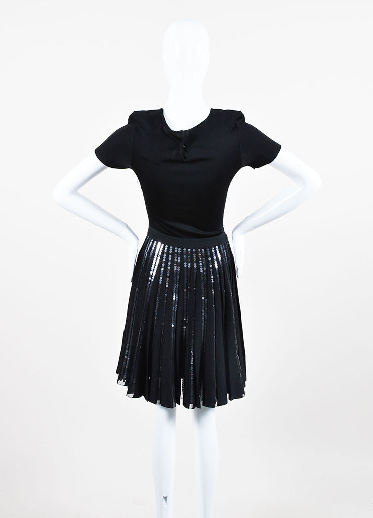 Black Christian Dior Sequin Detail Pleated Short Sleeve Dress Backview