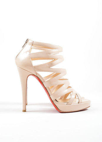 "Christian Louboutin Beige Patent Leather ""Fernando 120"" Cage Heels Sideview"