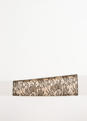 Christian Louboutin Champagne and Black Satin Floral Lace Evening Clutch Bag Frontview