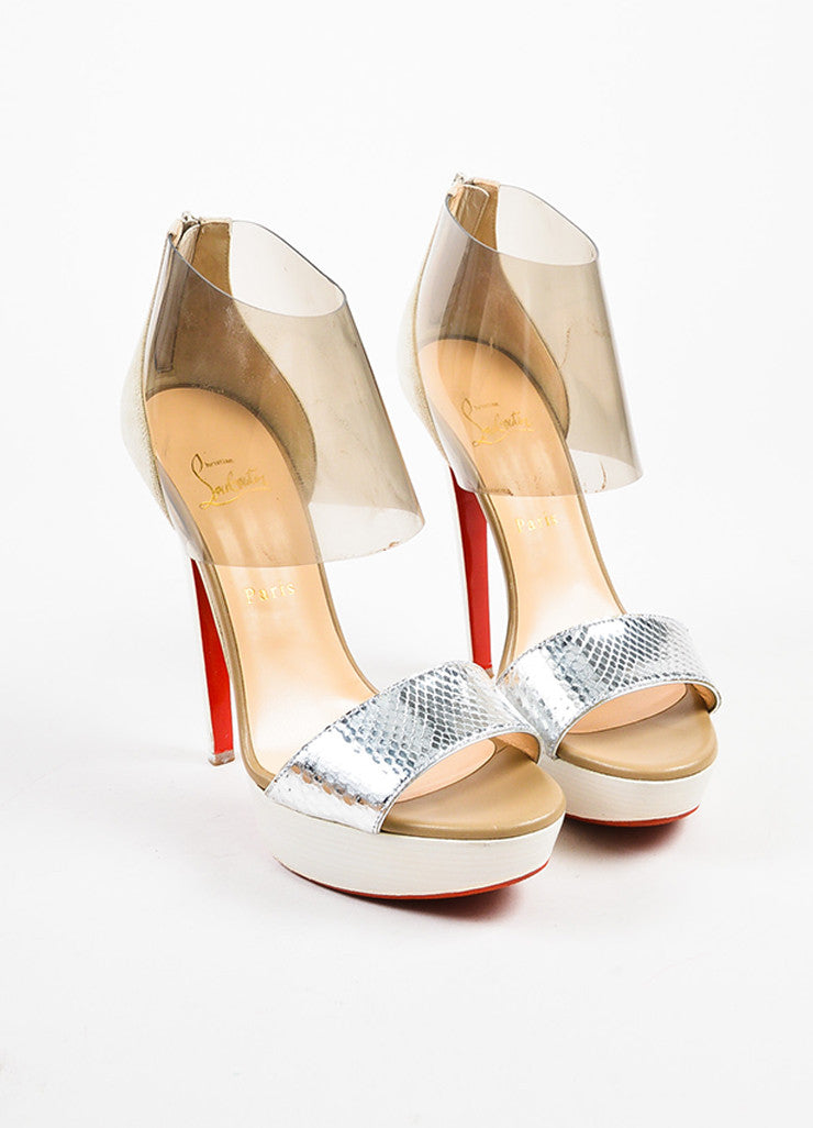 "Christian Louboutin Cream and Silver Suede and Python ""Dufoura 140"" Sandals Frontview"