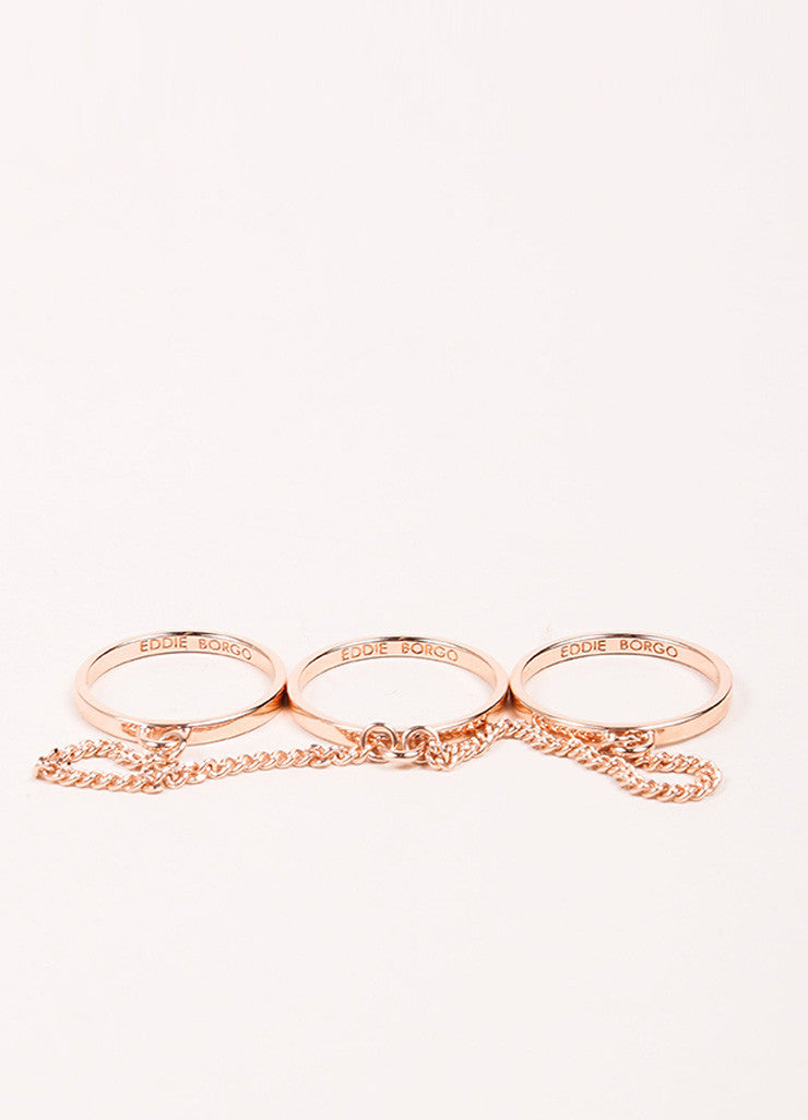 Eddie Borgo Rose Gold Toned Triple Chain Ring Sideview