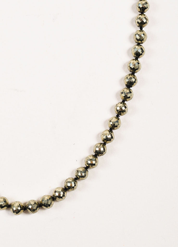 Elizabeth Locke 19K Yellow Gold and Pyrite Beaded Necklace Detail