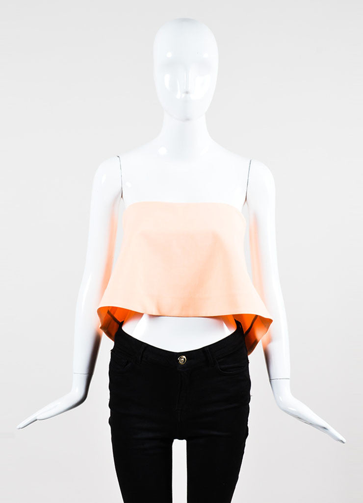 "Elizabeth and James Neon Coral Stretch Strapless ""Addilyn"" Crop Top"