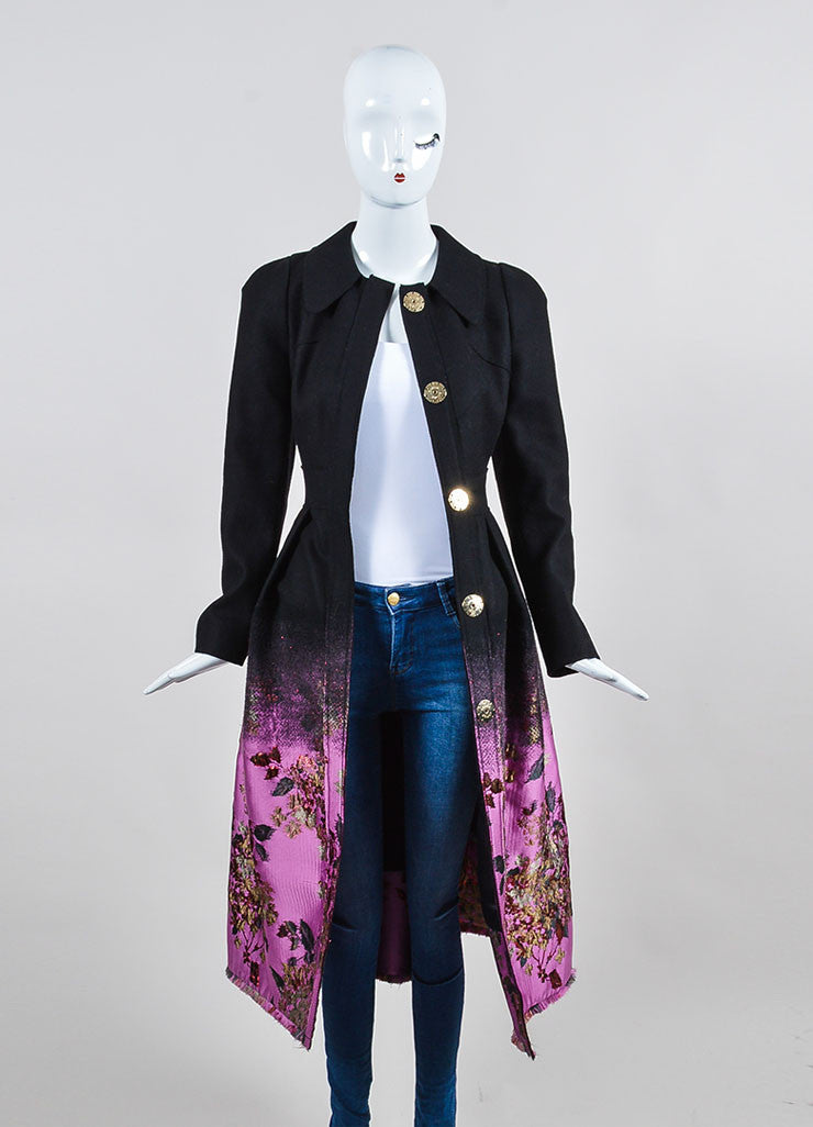 Black, Pink, and Red Erdem Wool Brocade Ombre Floral Maxi Coat Frontview