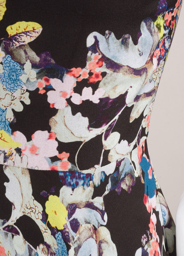 Erdem New With Tags Black and Multicolor Silk Floral Printed A-Line Dress Detail