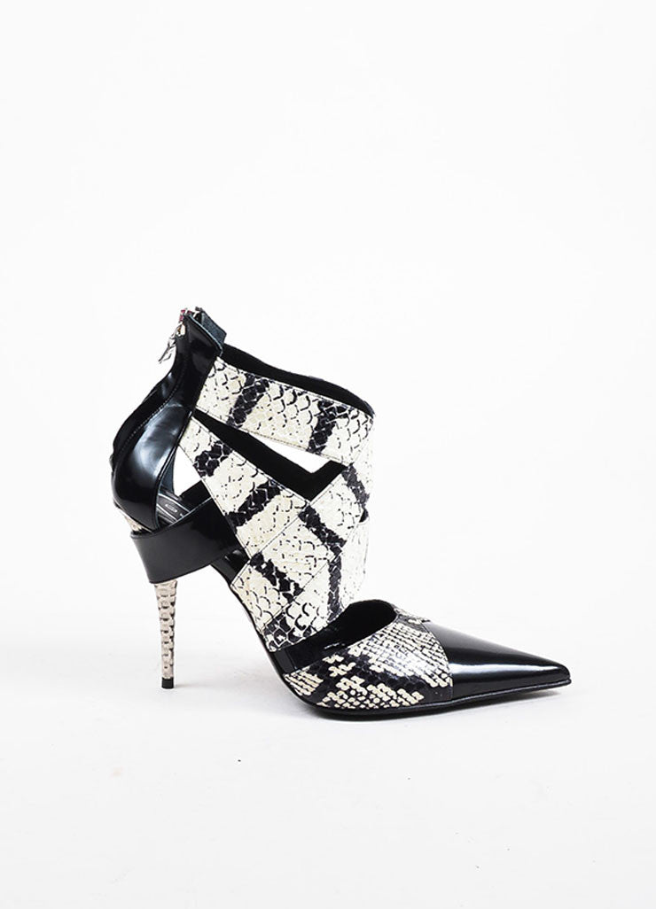 Etro Black and White Patent Leather and Python Pointed Spike Heel Pumps Sideview