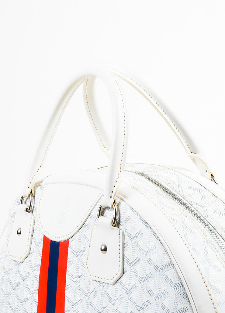 "Goyard Blue, Red, and White Coated Canvas and Leather GM ""St. Jeanne"" Bag Detail 2"